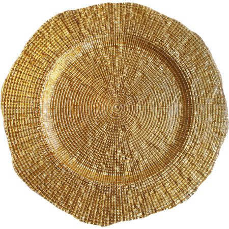 Stylist's Tip: Bold charger plates instantly elevate everyday serveware and transform your tablescape into a soiree-worthy spread. Set these shimmering gold-...