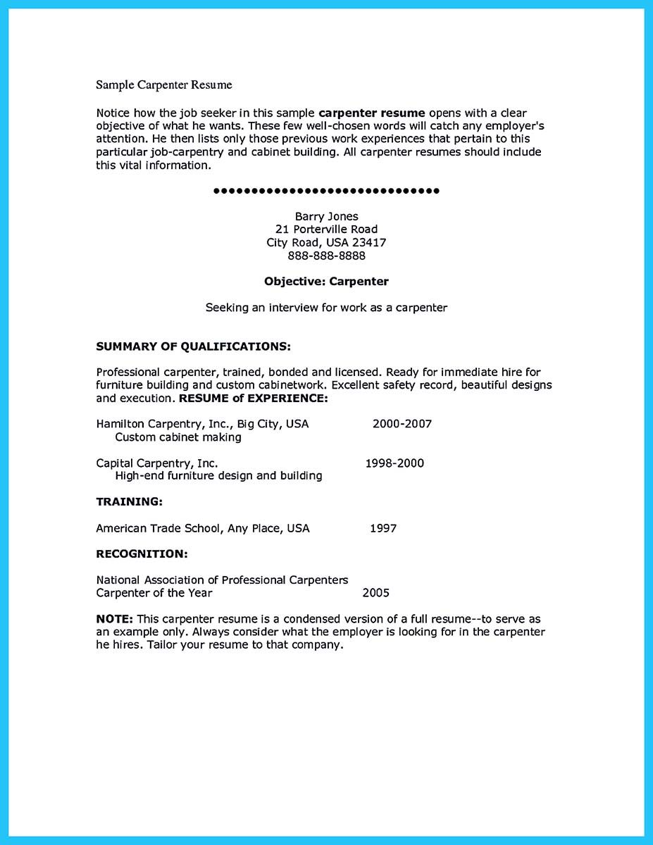 Nice Tips You Wish You Knew To Make The Best Carpenter Resume
