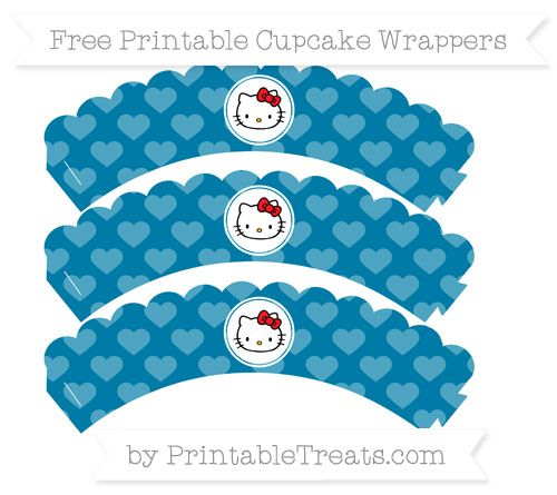 Free Cerulean Blue Heart Pattern Hello Kitty Scalloped Cupcake Wrappers