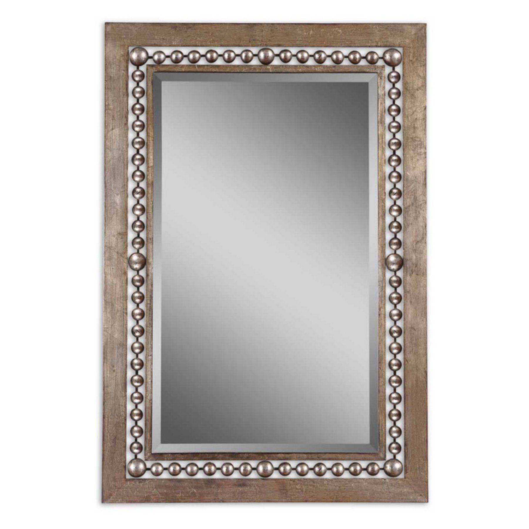 Uttermost Fidda Antiqued Silver See Through Beaded Frame Mirror ...