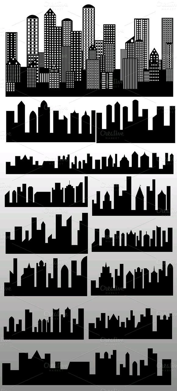 Pin By Aldona Damentko Pawlak On Schematy Building Silhouette Skyline Silhouette Silhouette