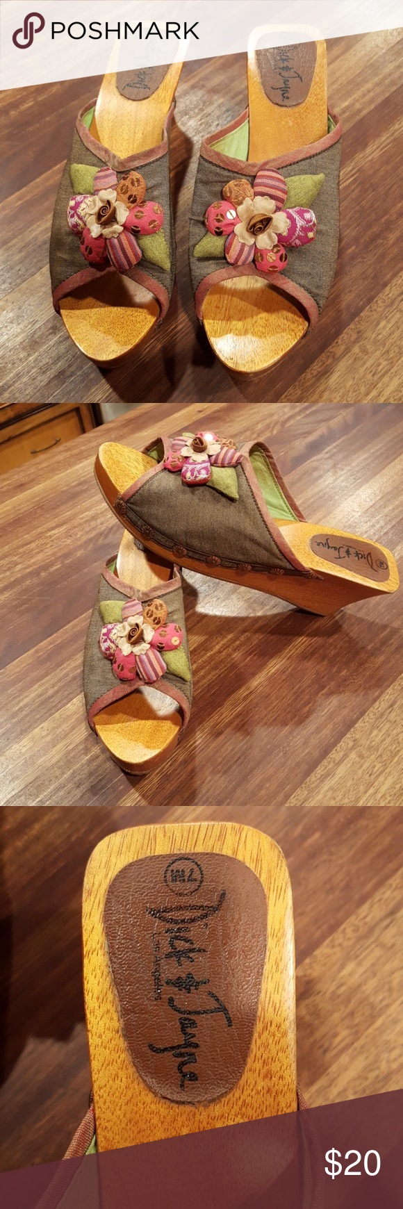 Dick and Jayne shoes Great condition. From my neighbors closet. I wish  these fit me. So cute and unique. dick and jayne Shoes Mules & Clogs