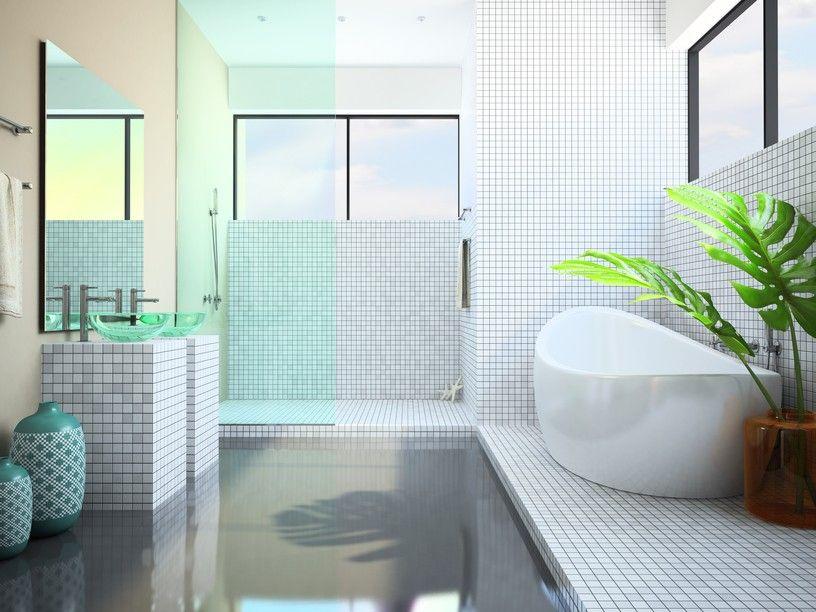 Coole Badezimmer ~ Weißes badezimmer mit großen fenstern und pflanzen bild