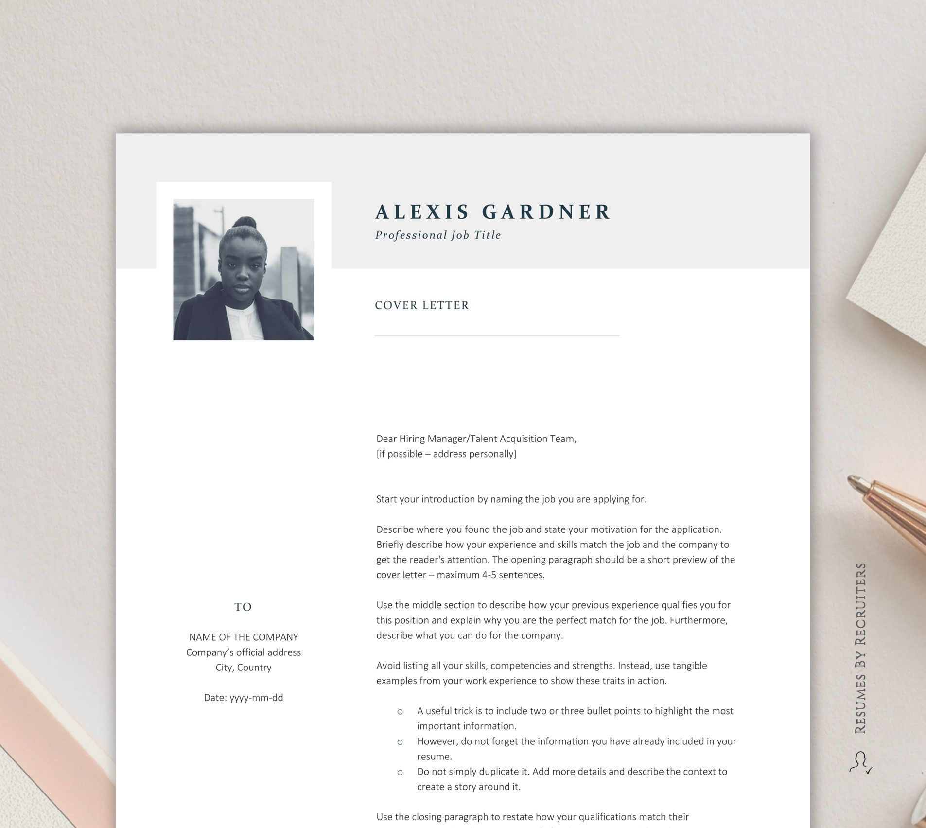 Elegant Resume Template with Photo / Instant Download CV