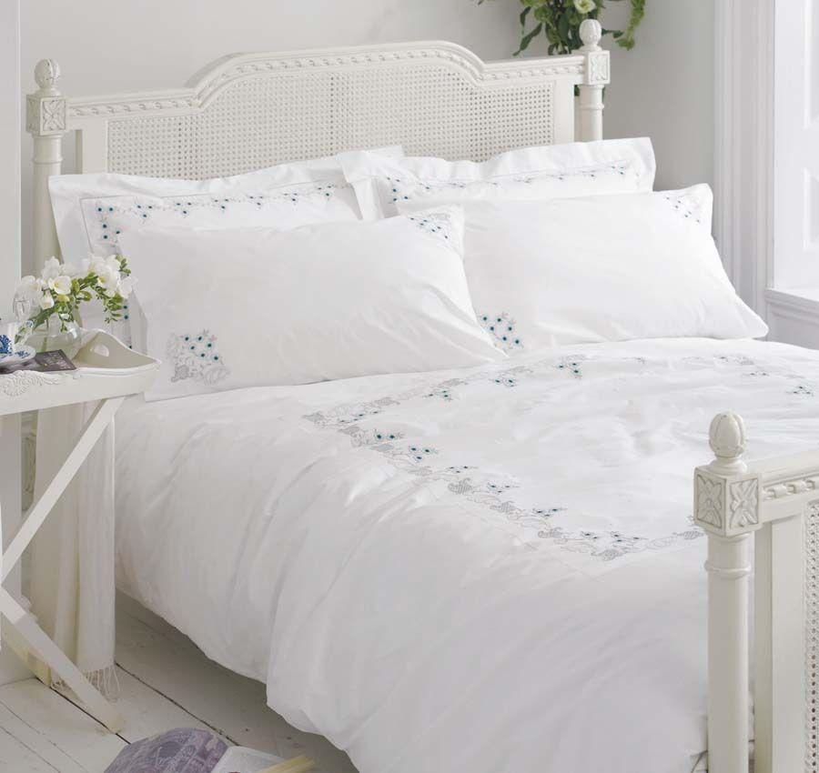 White Cotton Bedding Bed Linen Vintage Embroidered Floral Duvet