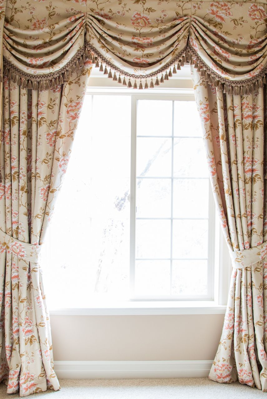 Black out curtains elegant valance curtains beaded valance curtains - Debutante Austrian Swags Style Swag Valance Curtain Set Pink Peony Patterns On Ivory Cotton Blend Http