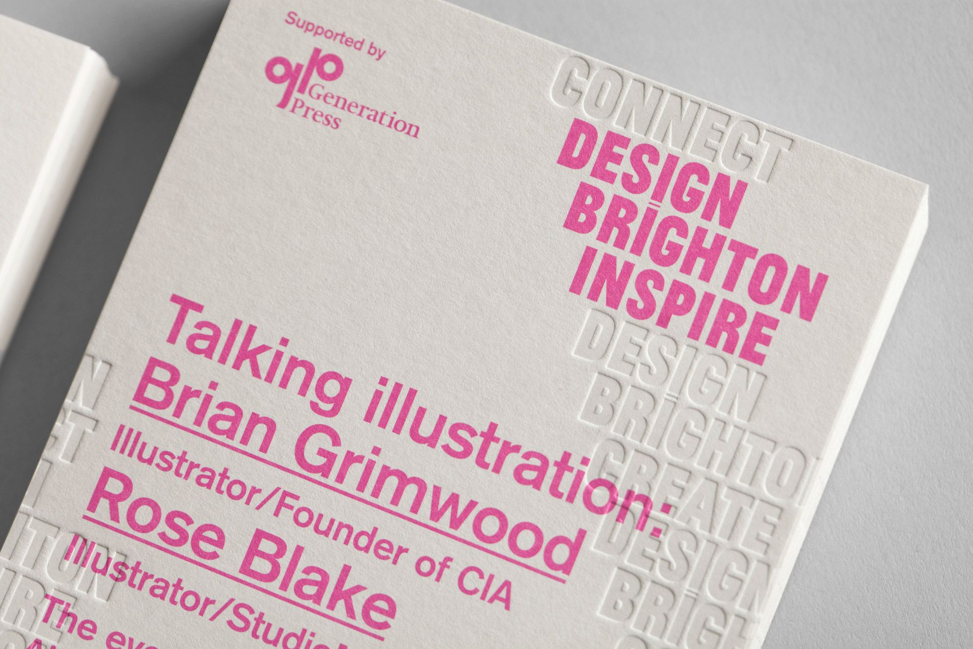 Design Brighton Flyer with blind deboss detail designed by Very Own Studio.