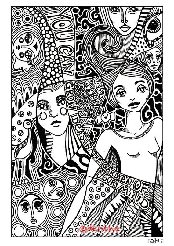 Adult Colouring Page Instant PDF Download Zentangle Doodle Drawings With Quote By Denthe