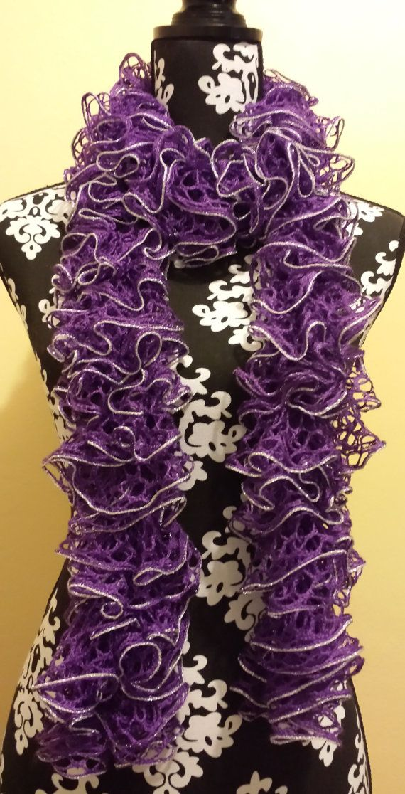 Knitted Sashay Sparkle Lilac Ruffle Scarf By Vickisrufflescarves