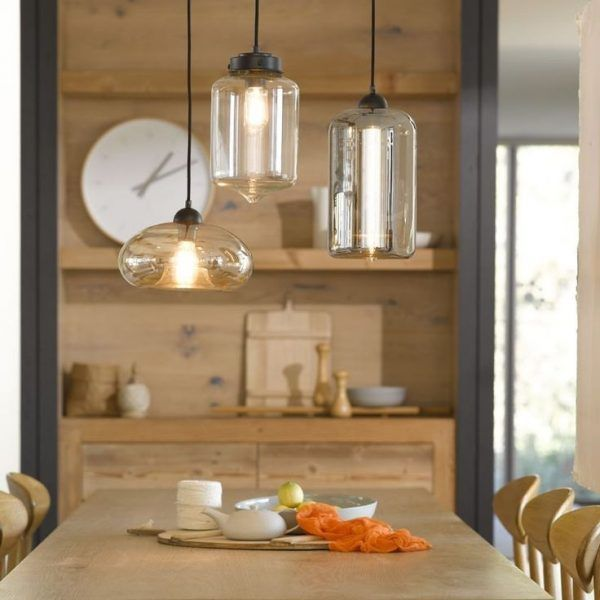Kitchen pendant light fittings using clear glass lamp shades above kitchen pendant light fittings using clear glass lamp shades above orange linen napkin over round wood aloadofball Gallery