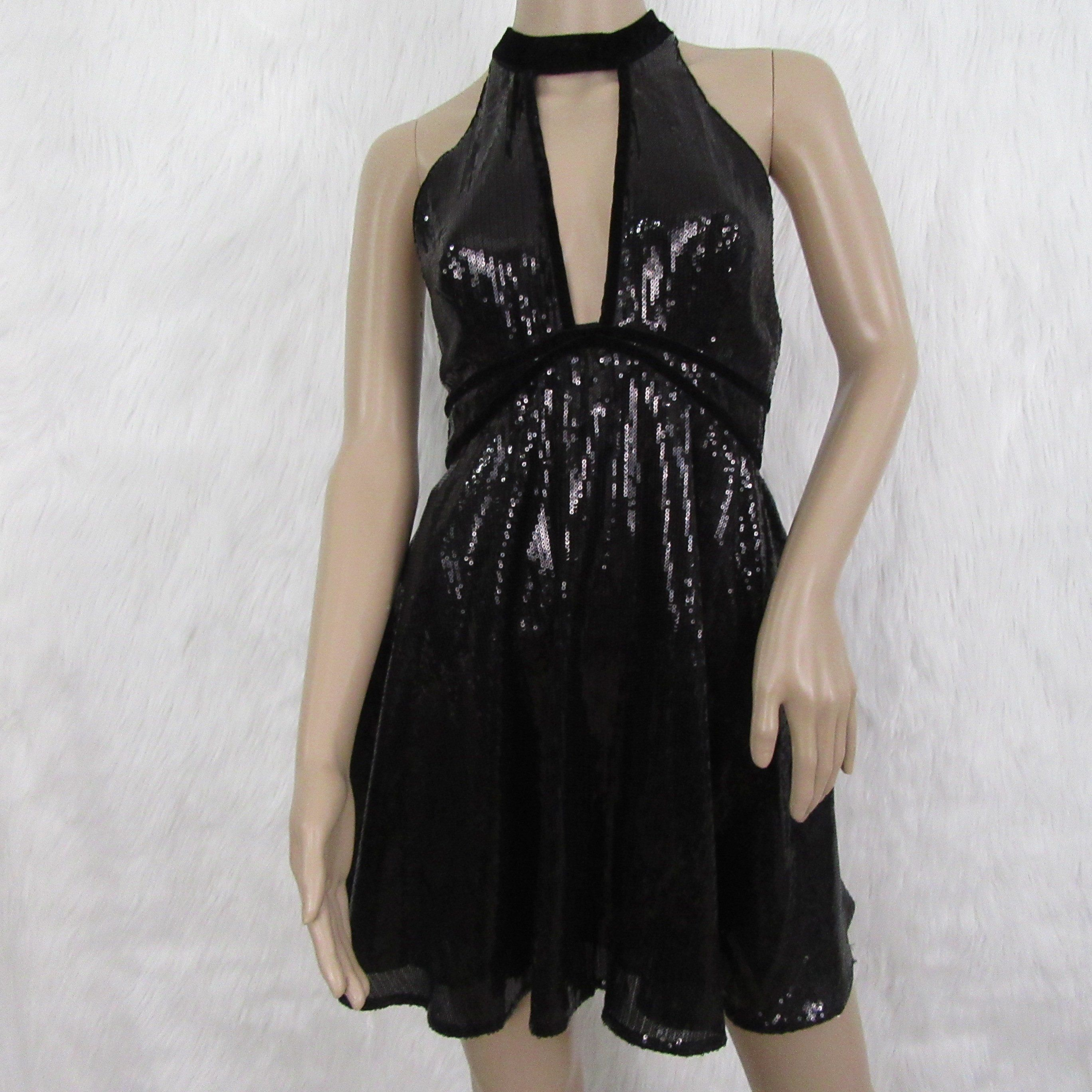 cc7915d5d0a Free People Women s Black Sequin and Velvet Fit and Flare Dress ...