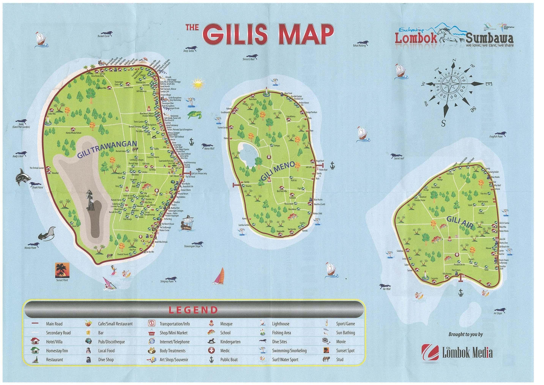 Carte Detaillee Des Iles Gili Dans Le Nord Ouest De Lombok