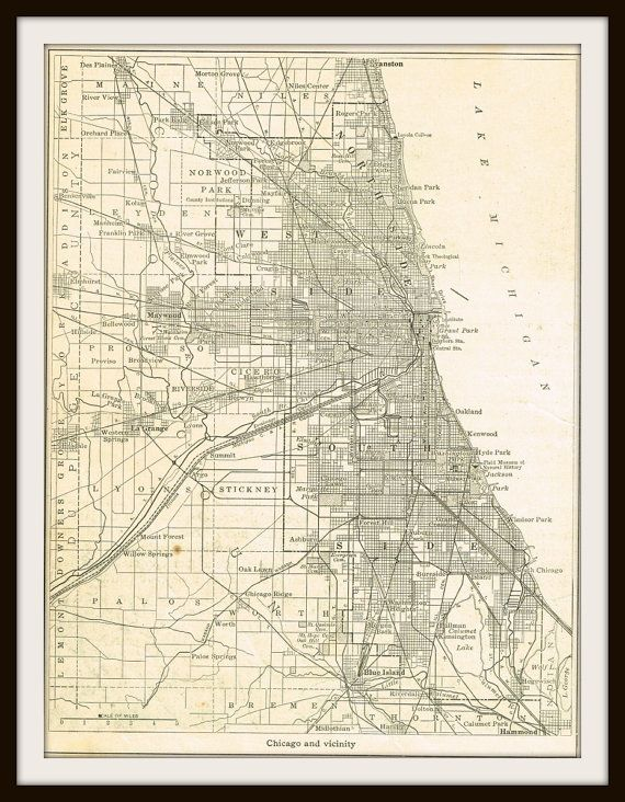 Antique Map CHICAGO ILLINOIS 1940 Map Page by KnickofTime  Mapas