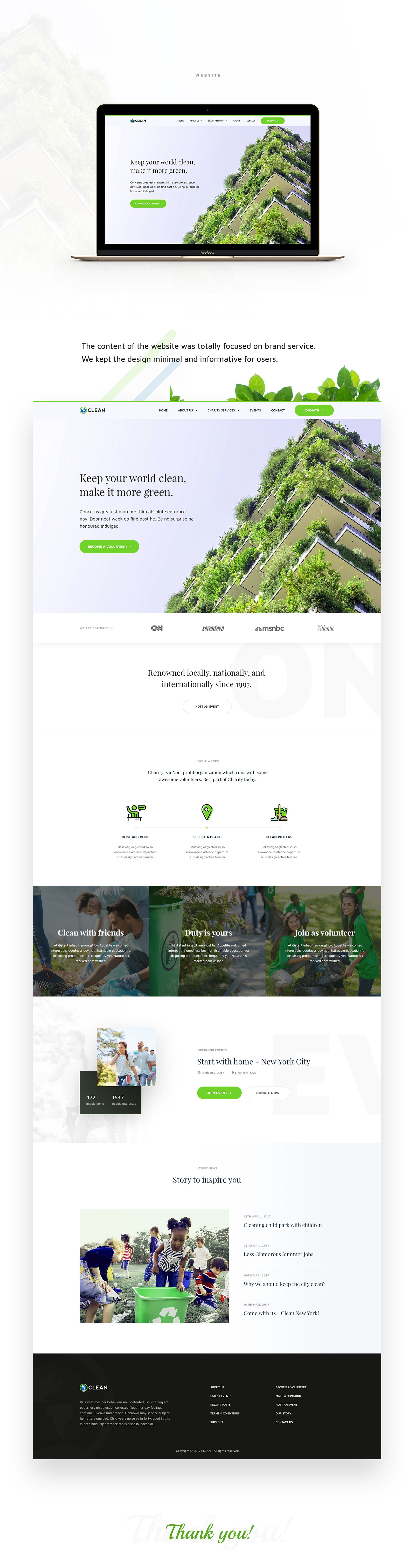Clean Is A Non Profit Organization Based On Usa Who Helps The People To Clean Their City And Town The Branding Website Design Website Branding Website Design