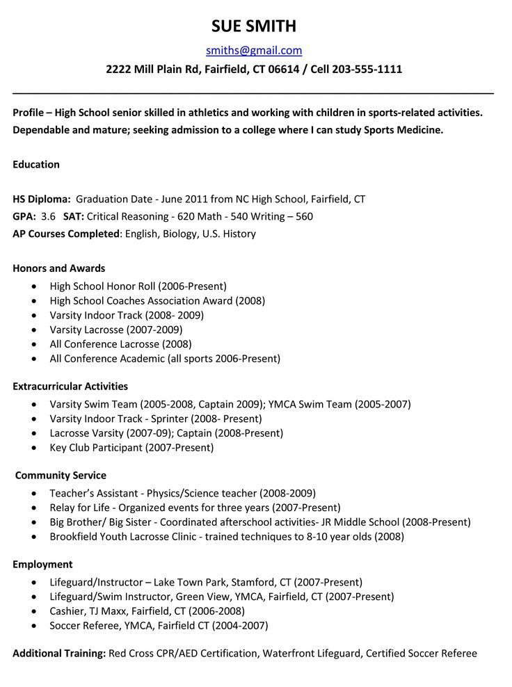 Resume For High School Students College Applications Examples