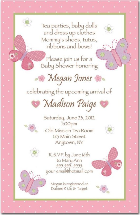 Baby Shower: Baby Shower Girl Invitation Wording To Help You Choose ...