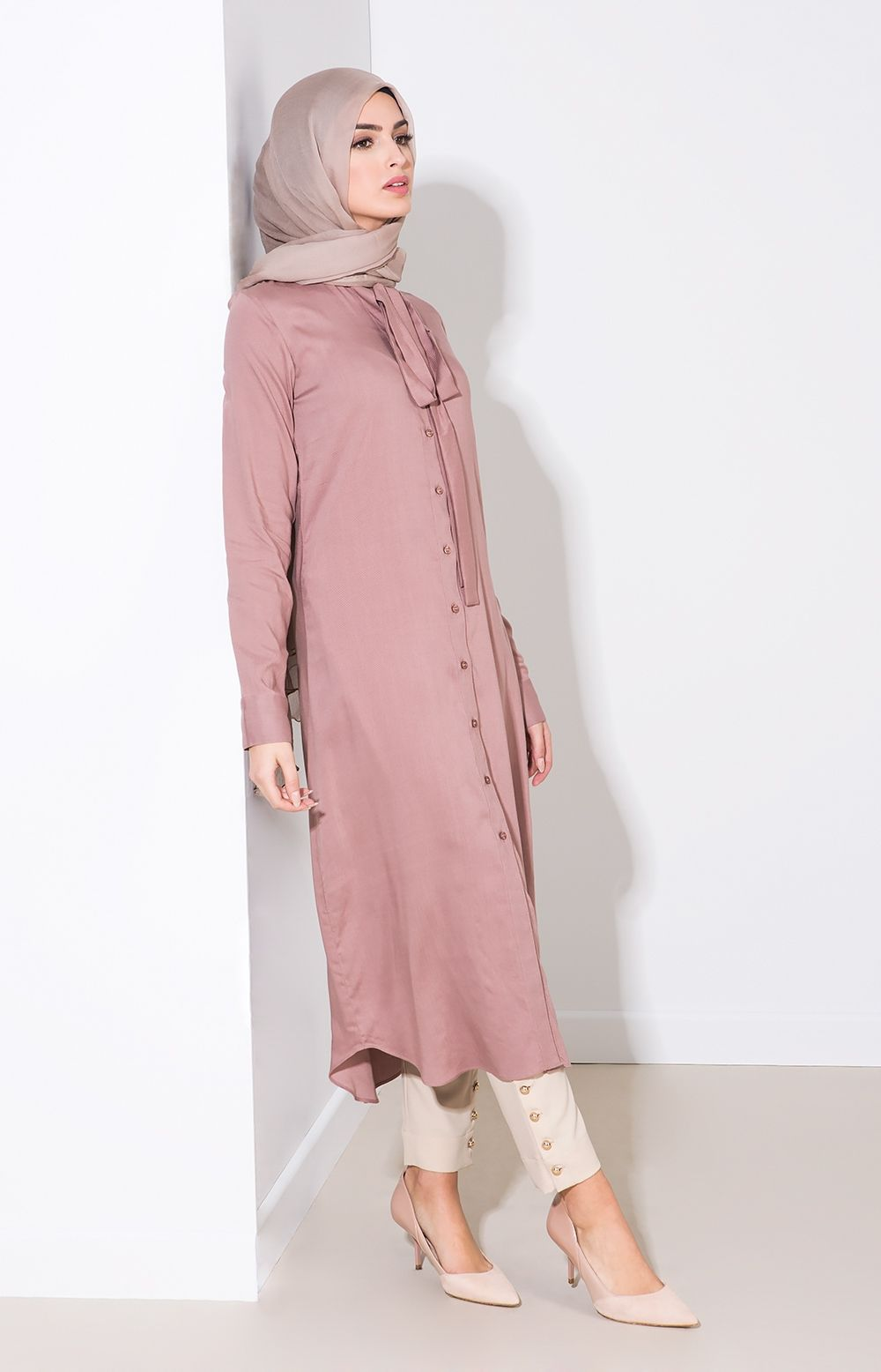 Aab uk slim tie midi dusty pink standard view clothes