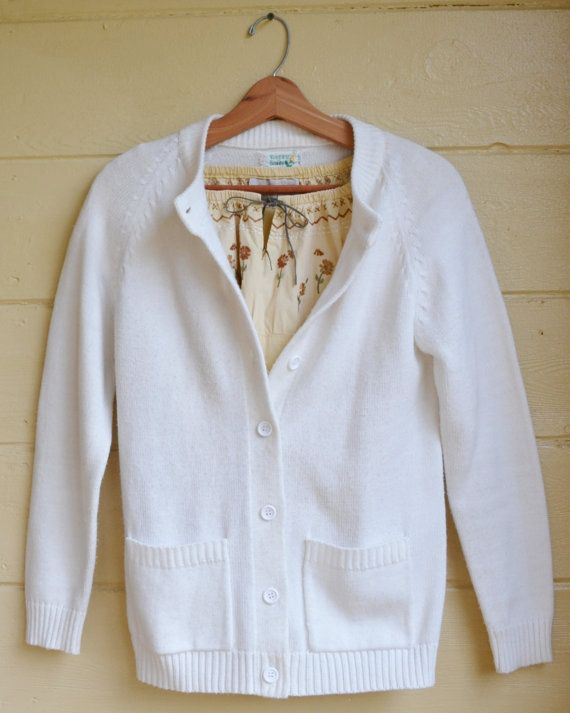 Vintage Womens White Cardigan Sweater Granny by founditinatlanta ...