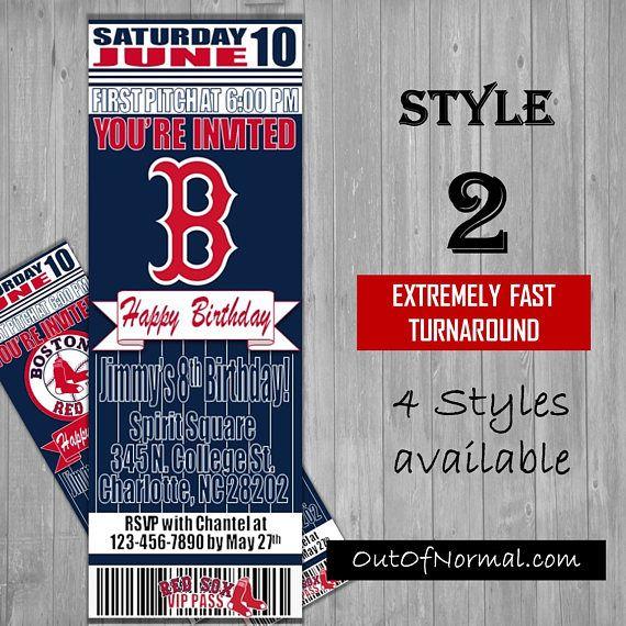 Boston Red Sox Fenway Park Themed Birthday Invitation Tickets – Birthday Invitation Tickets