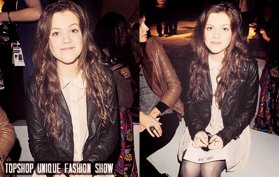 Georgie Henley oufit at the Topshop Unique fashionshow at London Fashion Week in London, Great Britain on February 20, 2011.