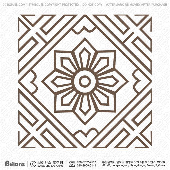 보이안스 벡터 한국전통무늬 사각형 격자 문양 심볼 시리즈. Sku