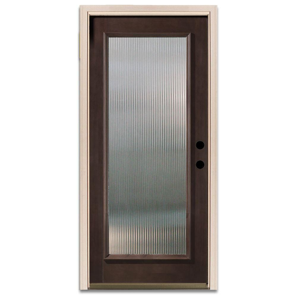 Steves & Sons Reed Full Lite Prefinished Mahogany Wood Entry Door Pleasing Home Depot Kitchen Doors Review