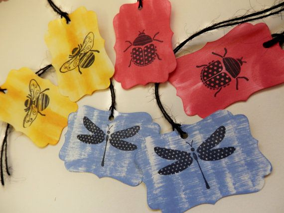 Handmade Tags Set of 6   Springtime Bugs  Red by PaperPastiche, $4.95