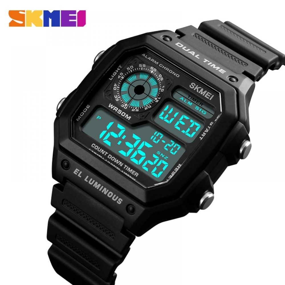 SKMEI Fashion Outdoor Sport Watch Men PU Strap Multifunction Waterproof Watches Alarm Male Digital Watch reloj hombre 1299 #sportswatches