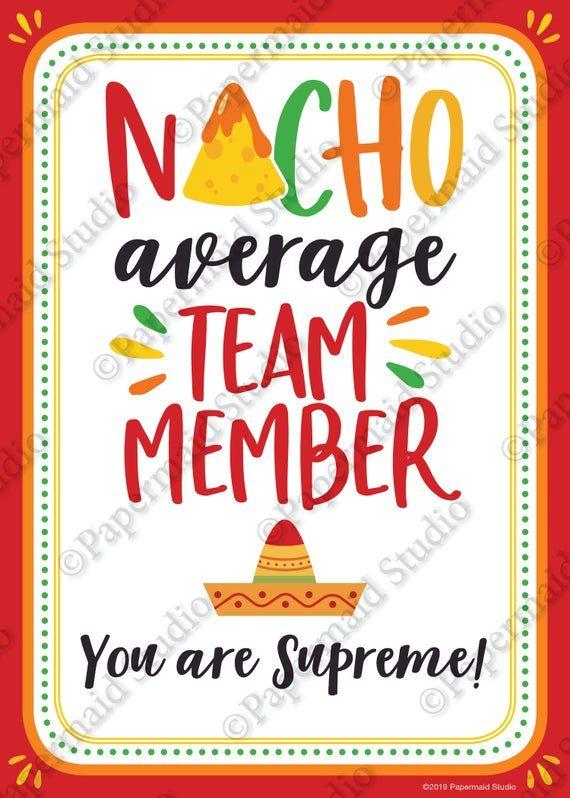 PRINTABLE Employee Nacho Gift Card - Employee Thank You Card Printable - Boss Card Employee Appreciation Nacho Average Team Member