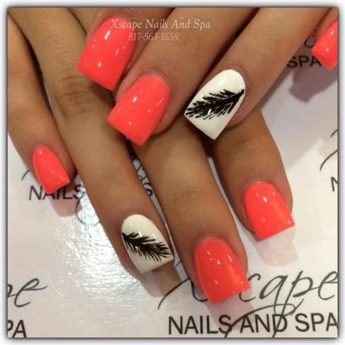 Awesome Orange Gel Nails With Print Ladystyle Nails Ideas 2018