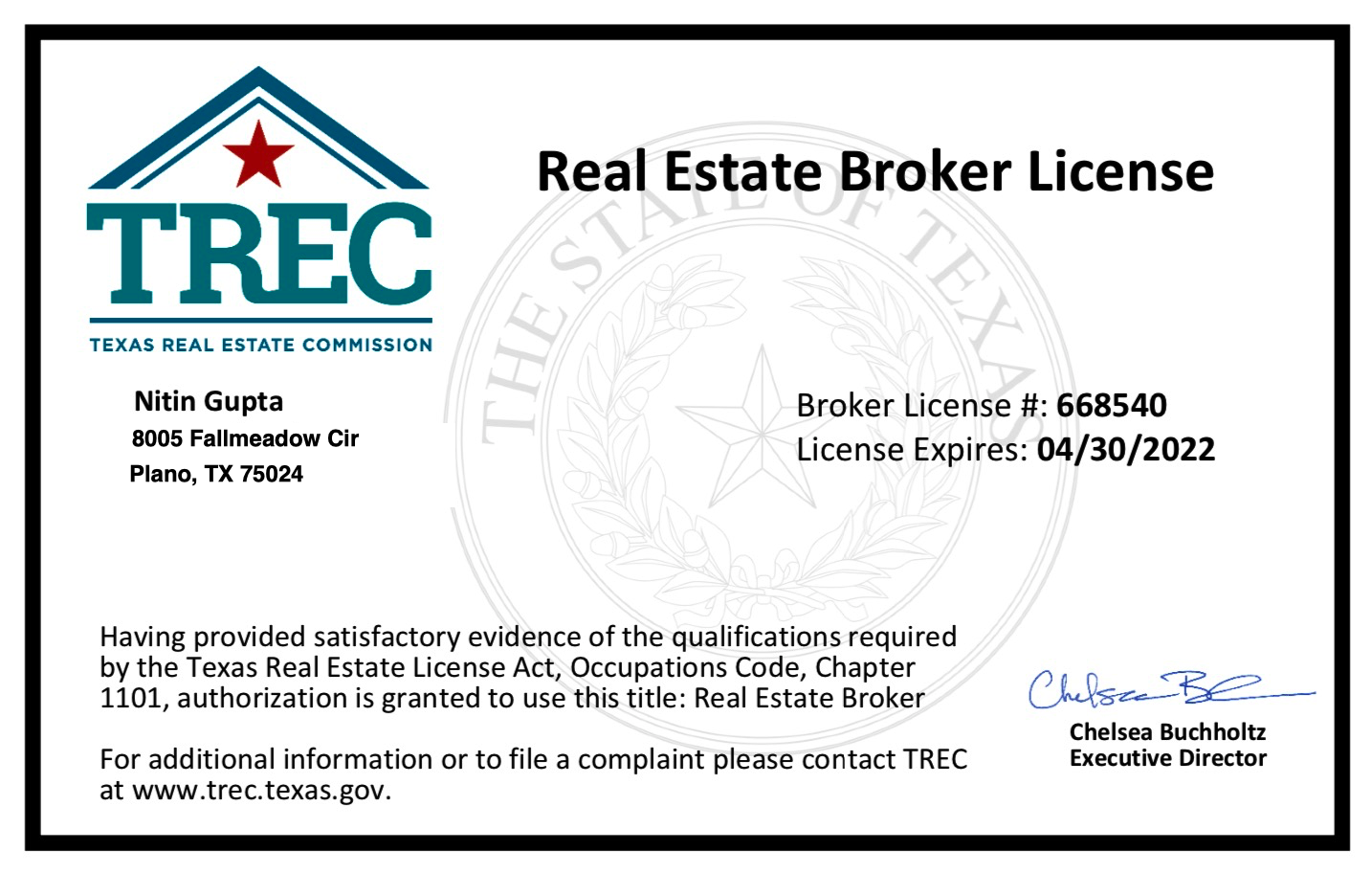 Competitive Edge Realty Real Estate Agent Nitin Gupta Awarded Associate Broker License Real Estate Broker License Real Estate Agent Brokers