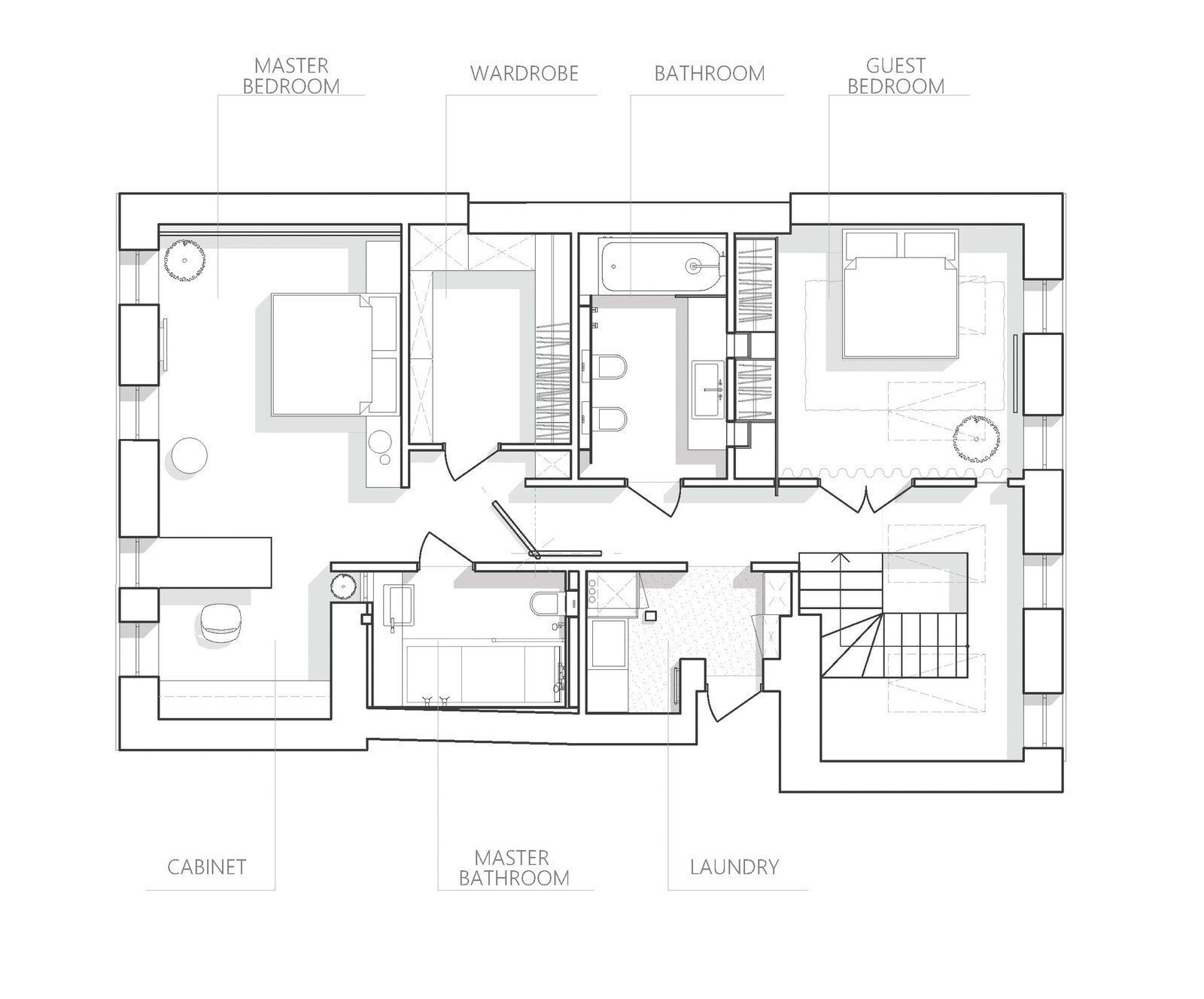 Photo 20 Of 20 In A Monochromatic Palette Unifies Old And New In This Floor Plan Drawing Floor Plans Architect Drawing