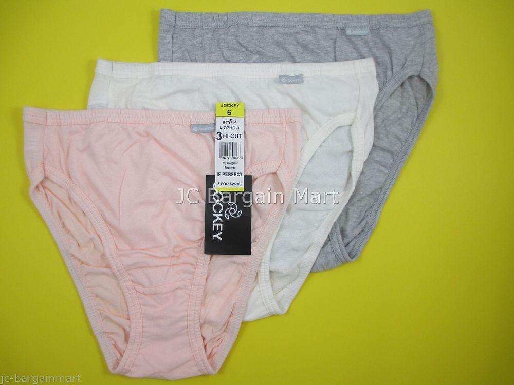 3be20e9a71a1 Jockey Women's Elance French Cuts 3-PK Cotton Size 6 Peach/ Ivory/ Gray  1447 Slightly Imperfect