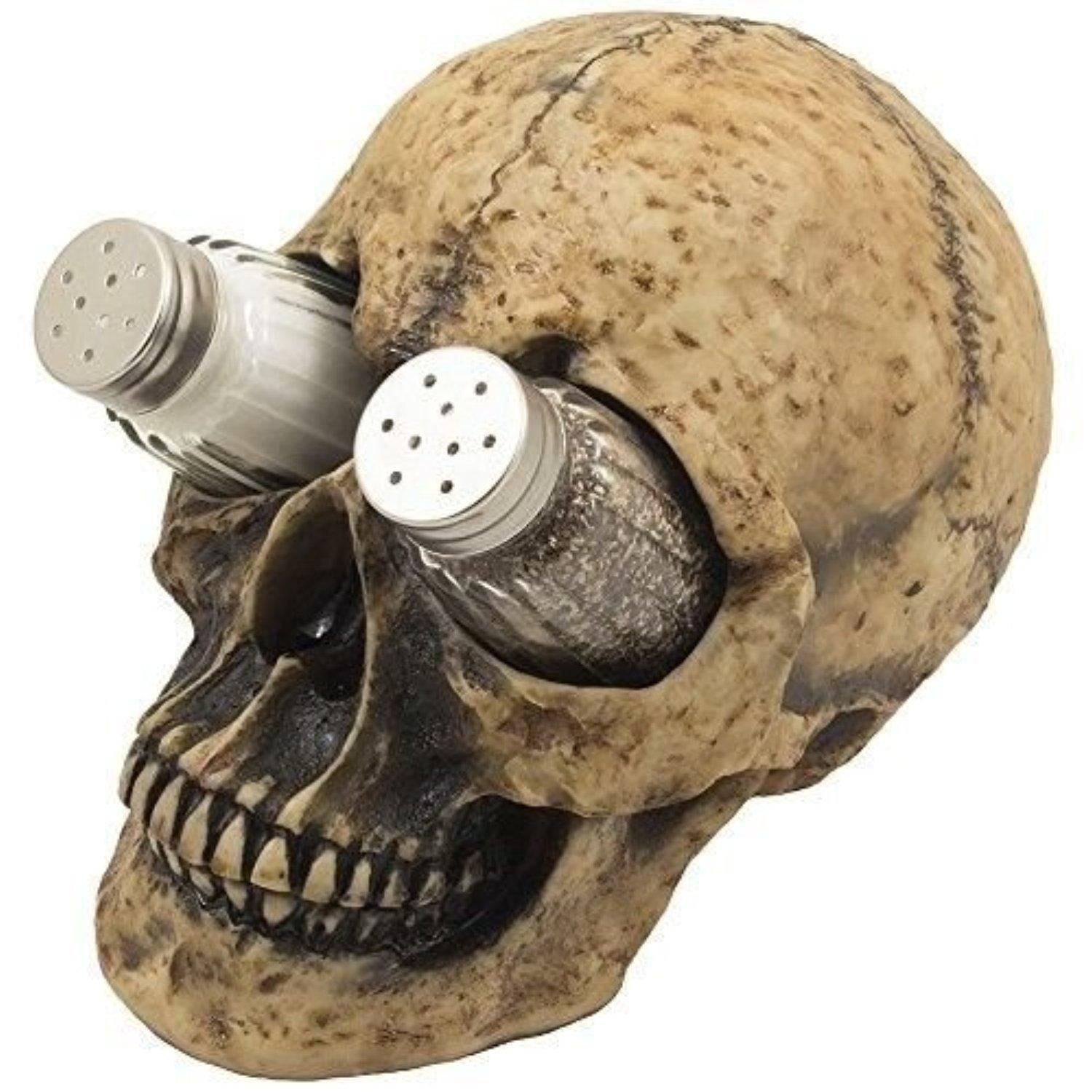 Halloween Human Skull Salt and Pepper Shaker Holder Set Skeleton Spooky Decor - Brought to you by Avarsha.com