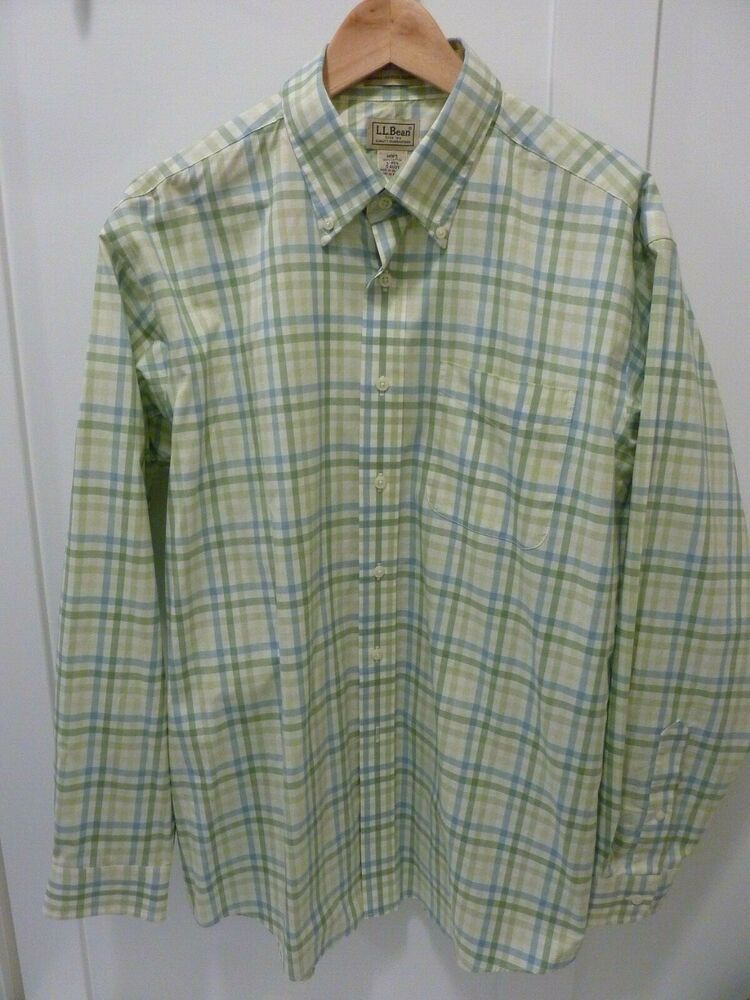 b6f1bab3 LL BEAN MEN GREEN/BLUE PLAID WRINKLE & STAIN RESISTANT SHIRT~LARGE~BUTTON  COLLAR #LLBEAN #ButtonFront. Find this Pin and more on DESIGNER MENS  CLOTHING ...