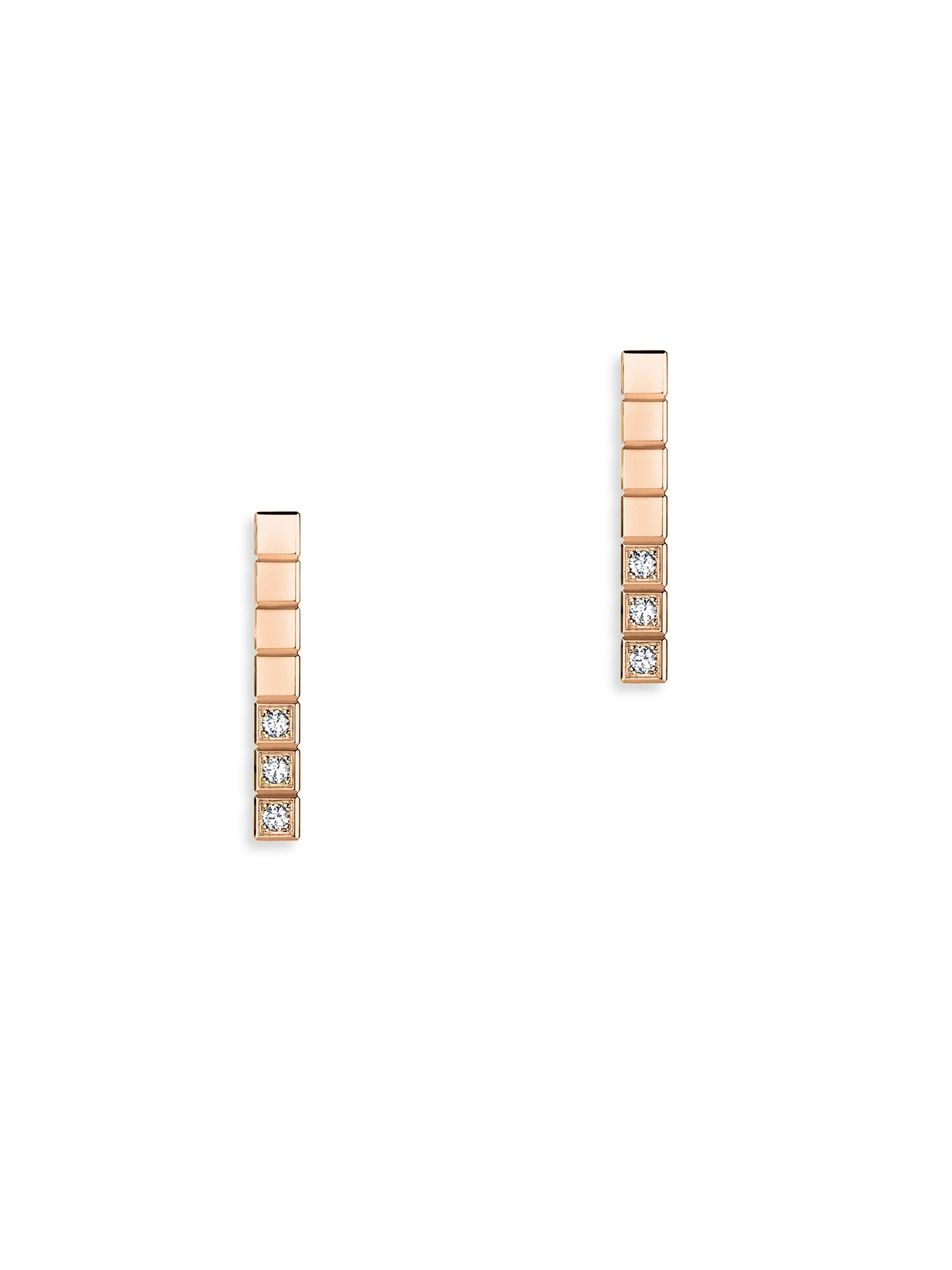 Chopard Ice Cube Diamond Bar Stud Earrings in 18K White Gold GP1reC7oFt