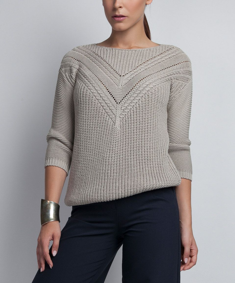 Love this MKM Gray Openwork Boatneck Sweater by MKM on #zulily ...