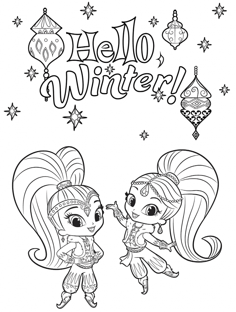Shimmer And Shine Winter Coloring Pages Coloring Books Coloring Pages Cute Coloring Pages