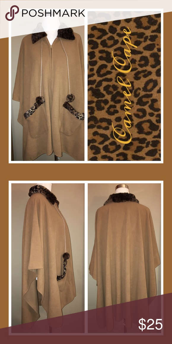 Transitional Cape/Poncho In a warm camel tone with two front pockets, pom pom ties and a long zipper front! Jackets & Coats Capes
