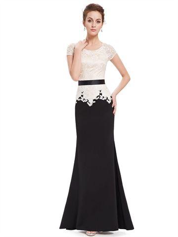 short sleeves ivory long evening dress