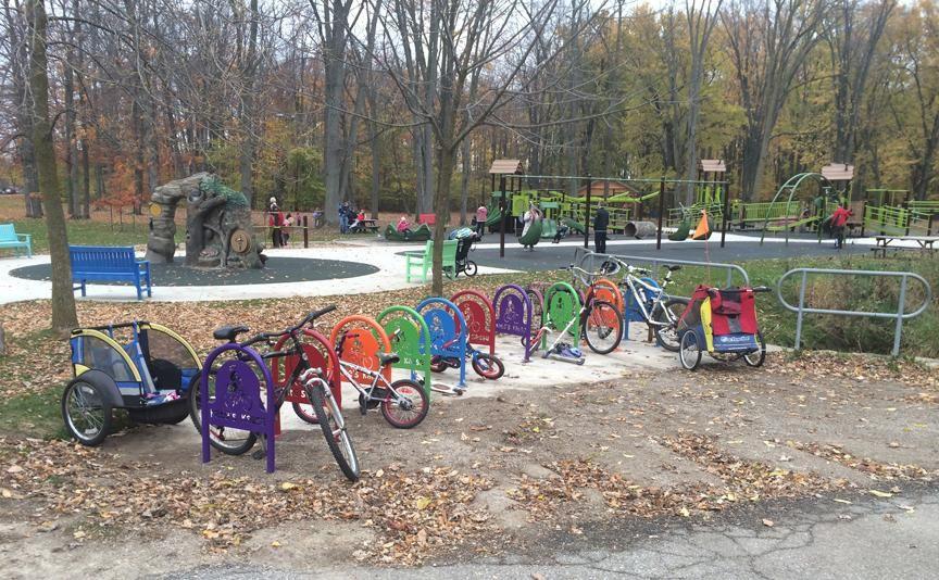 Custom, colorful bike racks in Gibson Park, near Elmira