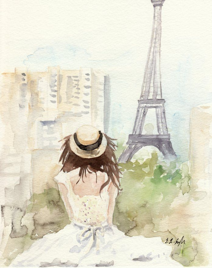 A View Of Paris Figure Painting Watercolor Girl Eiffel Tower