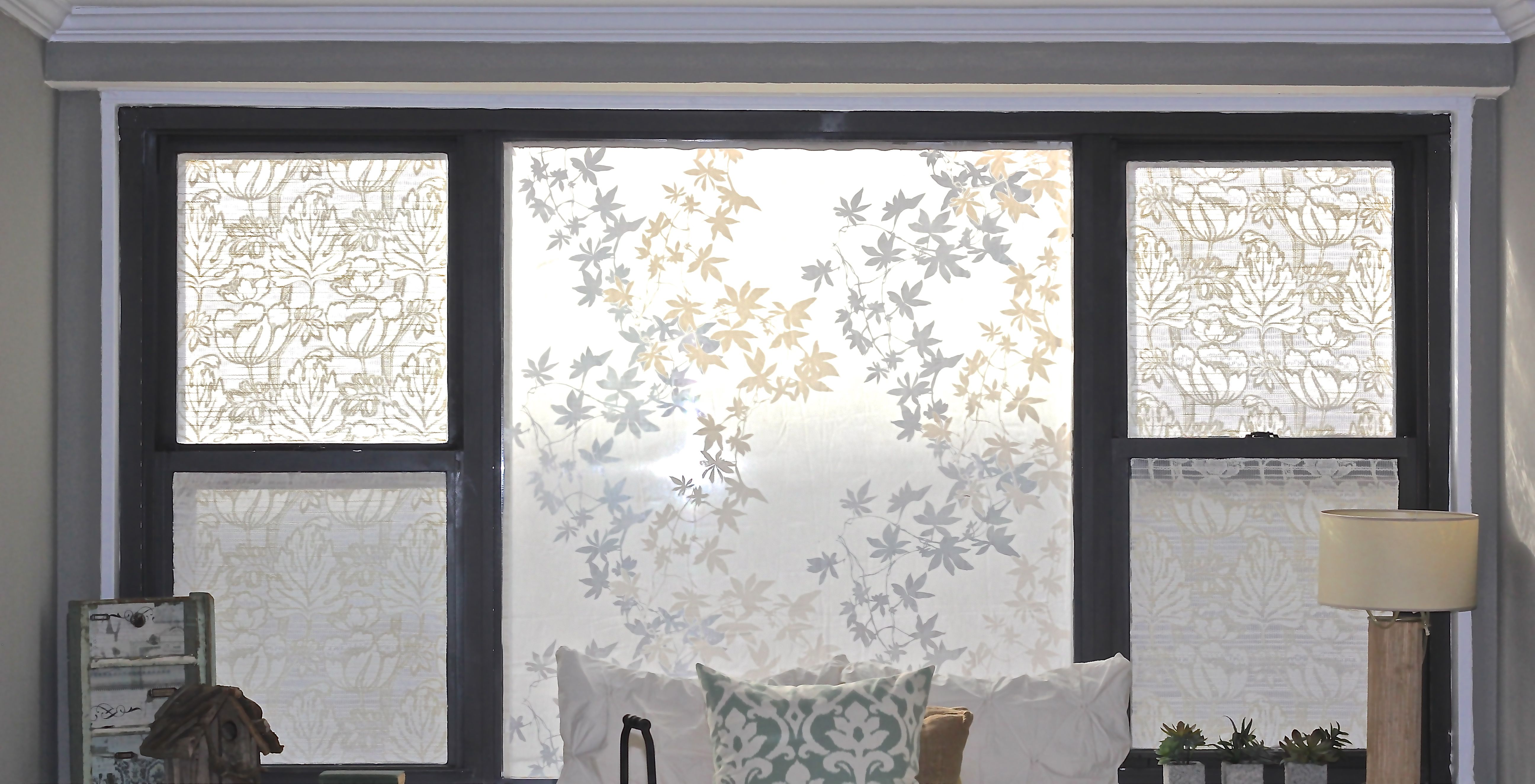 Sheer fabric stuck to windows using fabric starch for Sheer drapes privacy