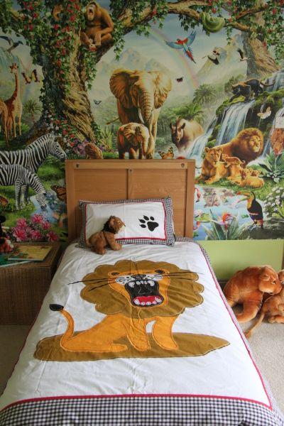 Owls Jungle Animals Wooden Bedroom Furniture Kids: Quirky Applique Lion