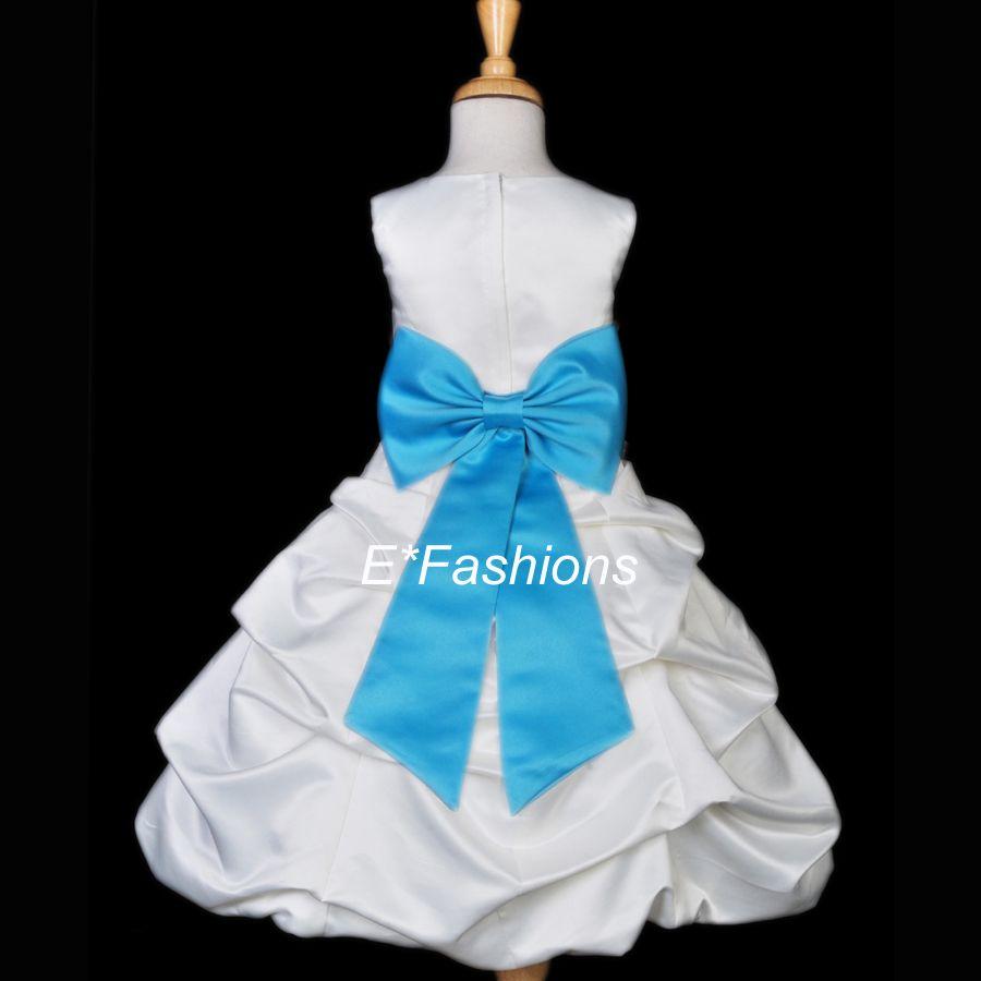 White turquoise pool blue easter wedding flower girl dress