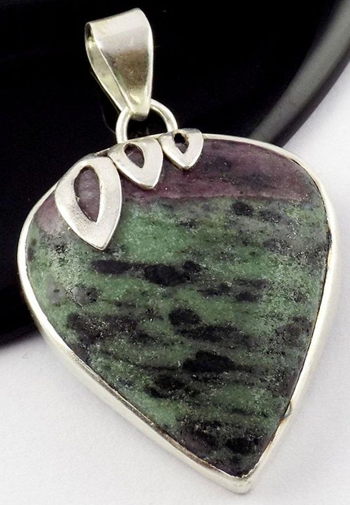Natural Ruby Zoisite 27x31mm Pear Shape Gemstone 925 Sterling Silver Pendant #Raagarw