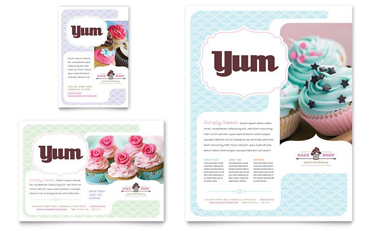 Bakery  Cupcake Shop Flyer  Ad Template Design  Printables