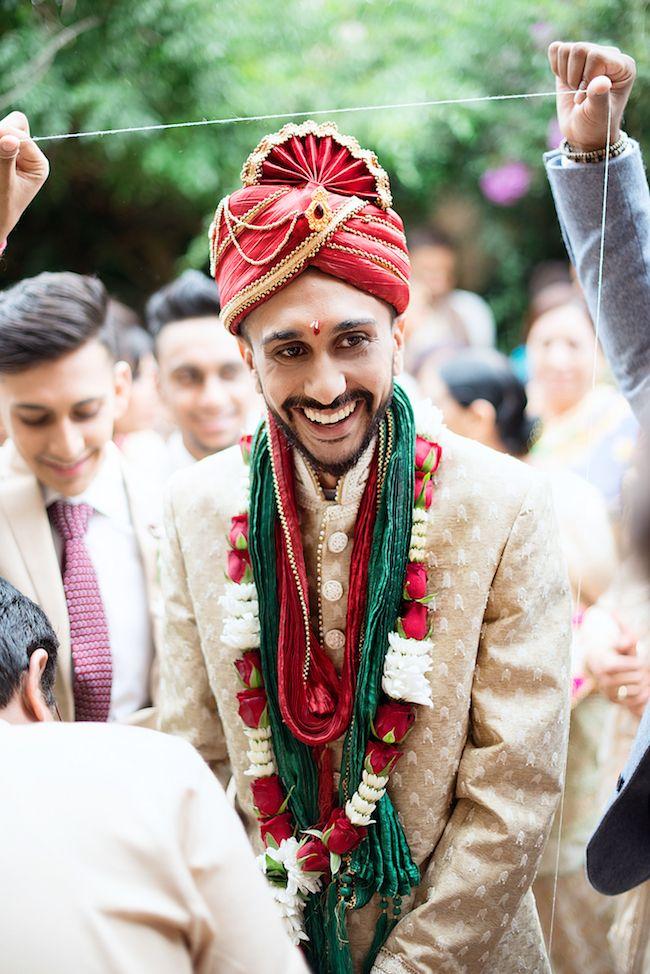 Dazzling Hindu Wedding Ceremony in Emerald + Red Hindu