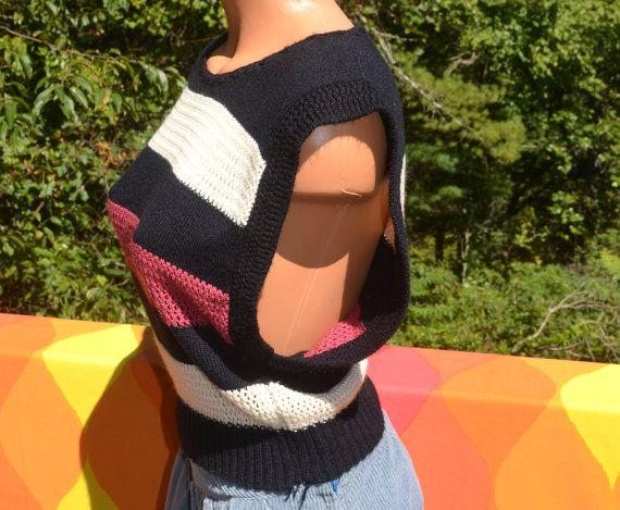 vintage 70s sleeveless sweater tank top vest STRIPES by skippyhaha