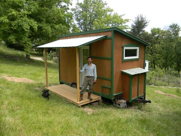 Tiny Home Designs: 112 Square Feet Off Grid Tiny House With Folding Porch Roof